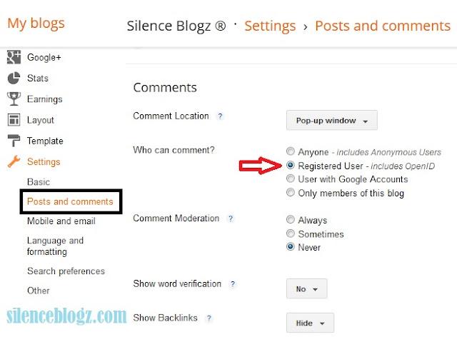 cara elak spammer komen - silenceblogz