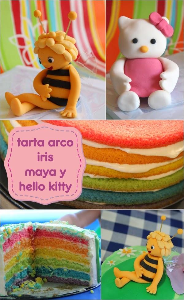 tarta arco iris abeja maya y hello kitty