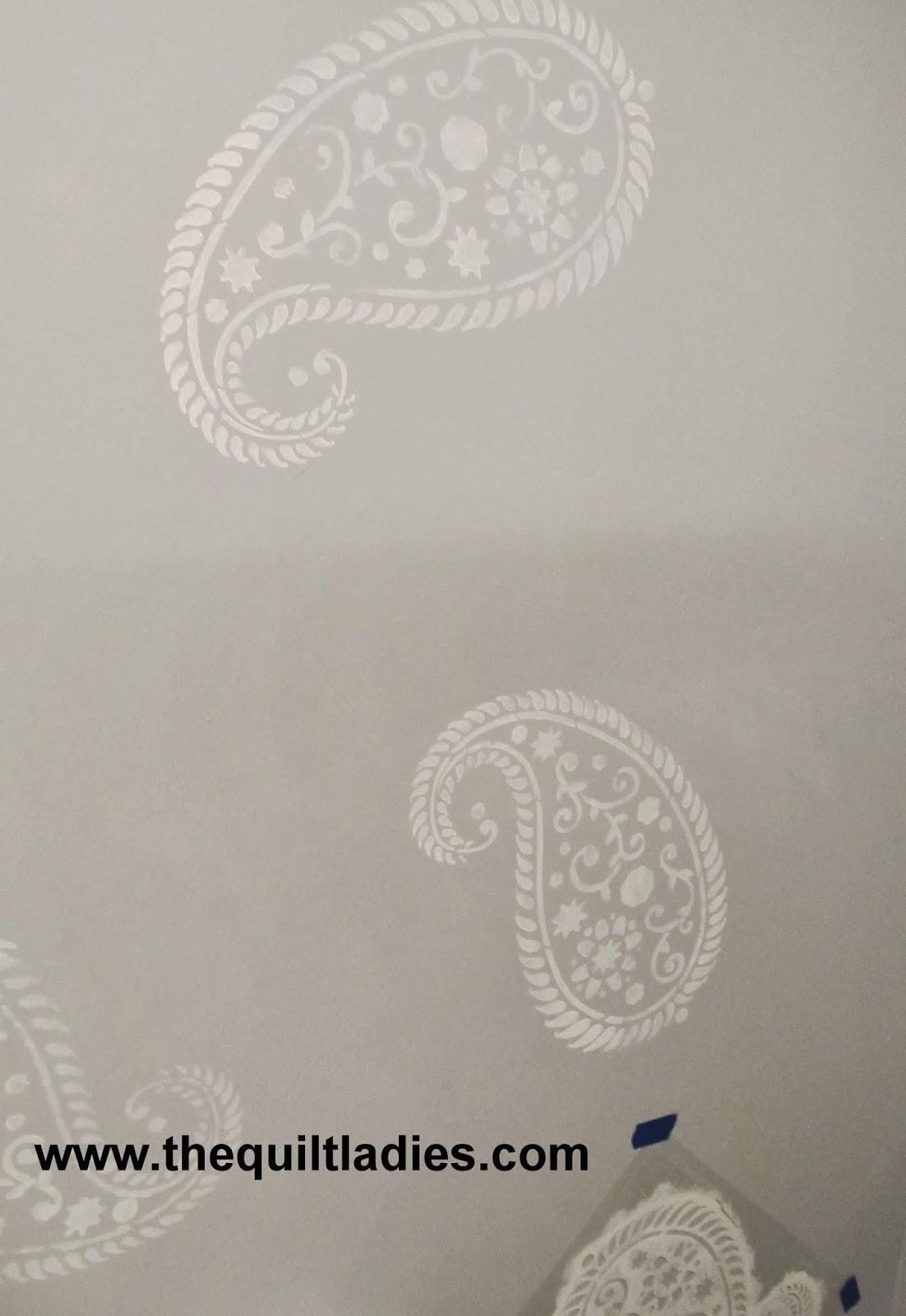 white paisley stencil