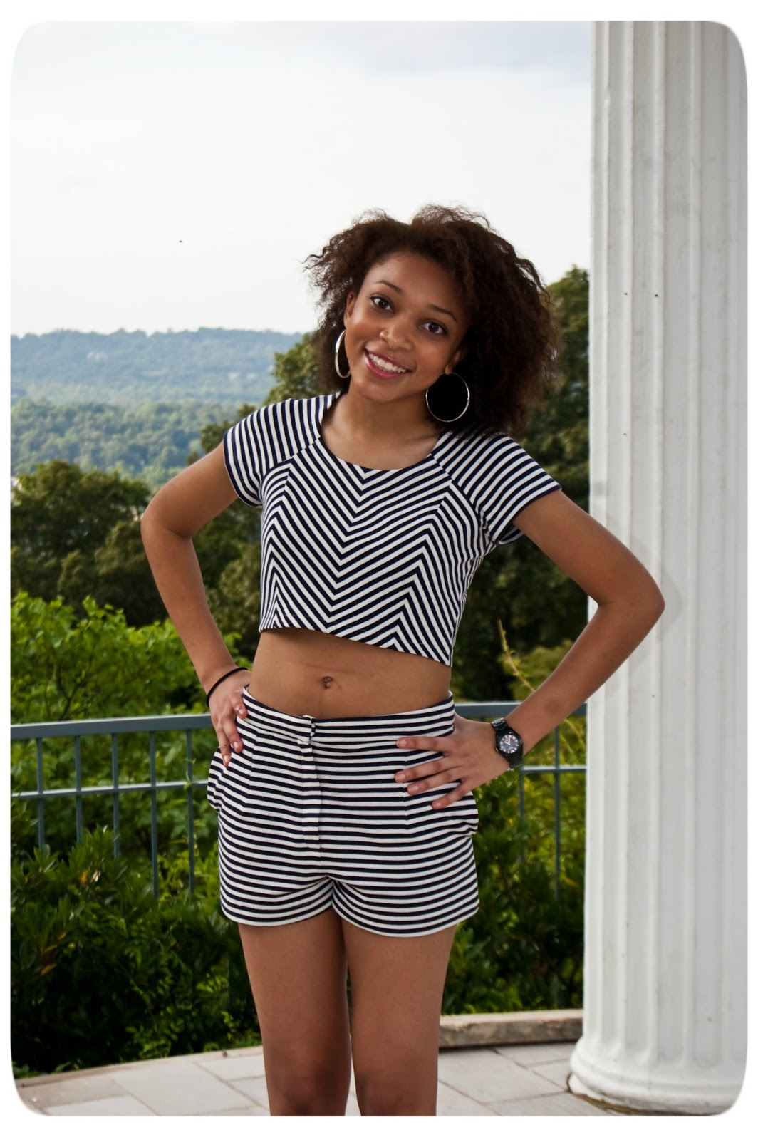 Nautical Crop Top with High Waisted Shorts - Mood Sewing Network