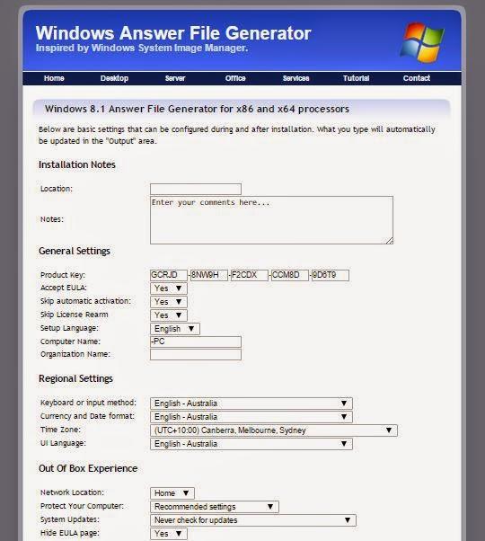 windows 10 answer file generator