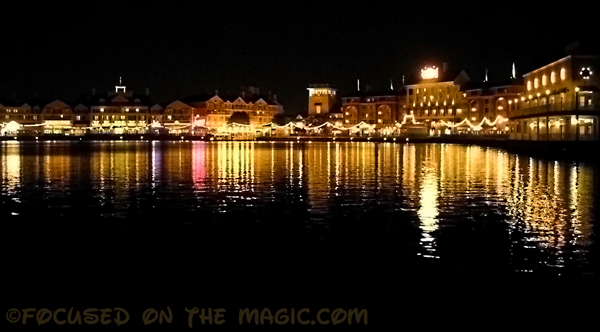 Disney's BoardWalk Resort lights at night