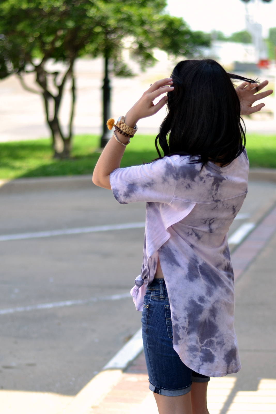 Knotted tie dye t shirt