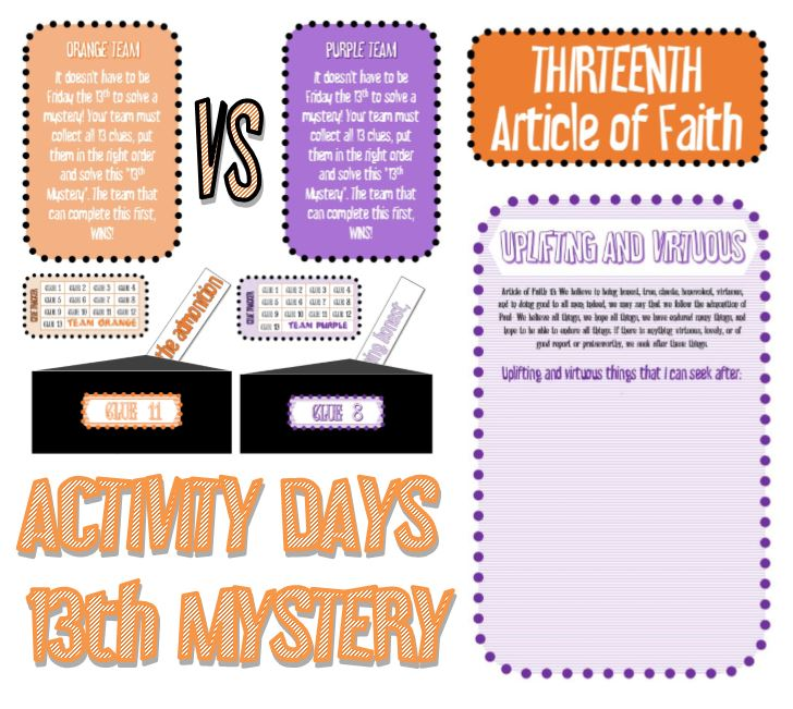 13th Mystery - Article of Faith Activity