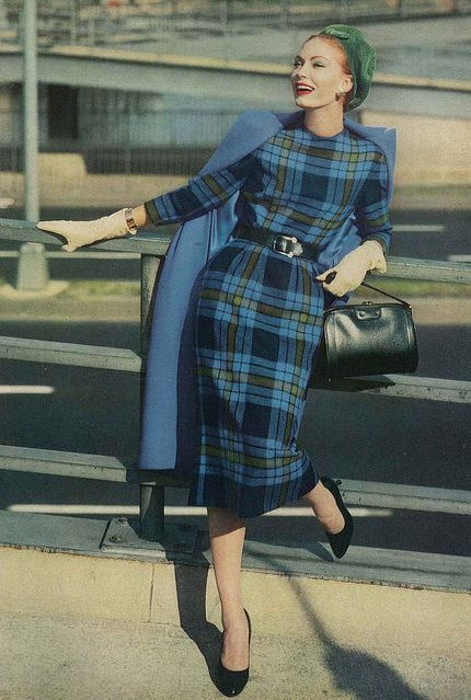 Blue Plaid in 1957 #vintage #plaid #dress #blue #1950s #fashion