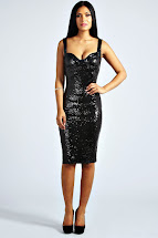 Sequin Black Midi Dress