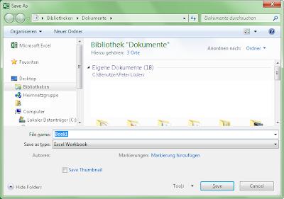 Excel 2013 - Datei - Speichern unter