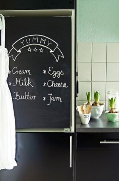 DIY: frigorífico de pizarra { DIY: chalkboard paint }