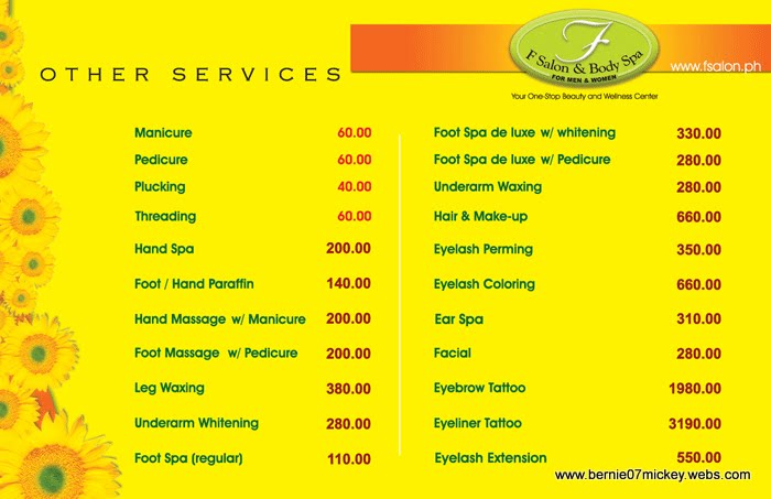 f salon ForF Salon Jaipur Price List