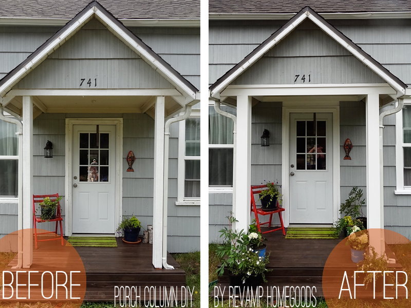 Curb appeal diy porch columns revamp homegoods for House plans with columns and porches