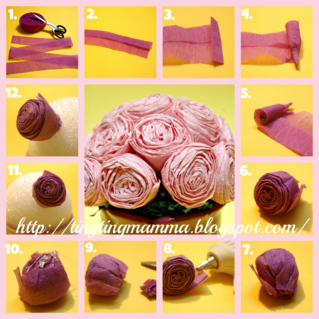 Tingtingmamma Tutorial Crepe Paper Rose Bouquet