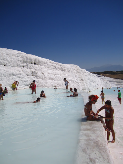 Travertine pools in Pamukkale, Turkey.