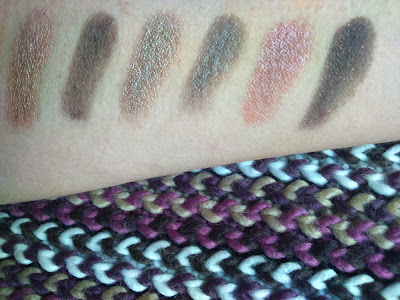 Swatches of lower row of Maybelline The Blushed Nudes, over UD primer