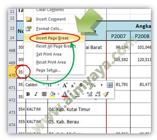 Gambar: Menambah page break melalui popup menu Microsoft Excel