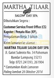 Lowongan Kerja Martha Tilaar Salon dan Day Spa di lampung