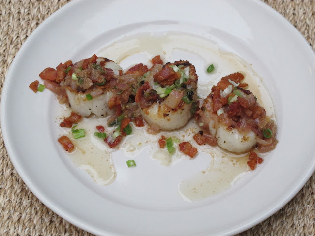 Bobby Flay's Grilled Sea Scallops with Green Onion Relish and Warm Bacon Vinaigrette
