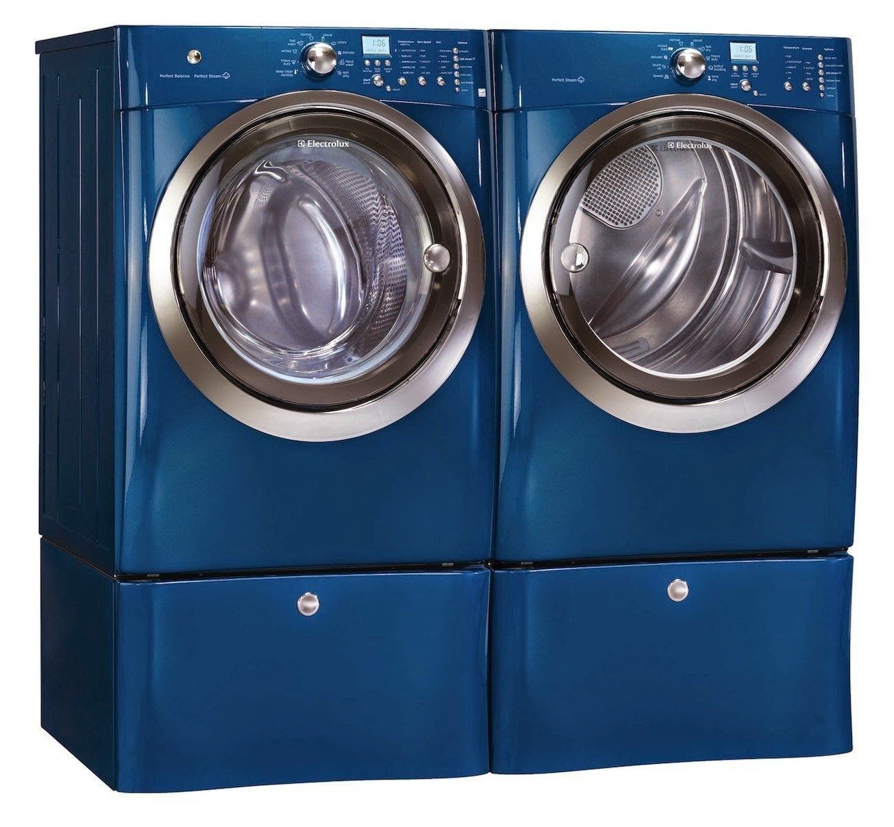 electrolux iq touch blue steam front load washer and dryer laundry set