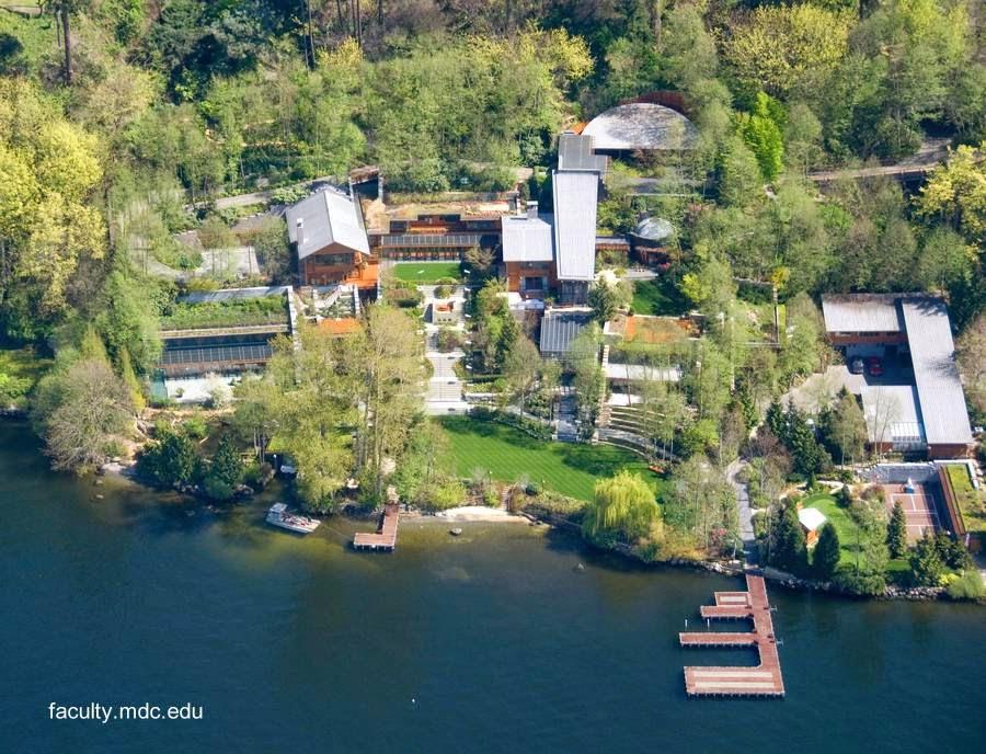 Vista aérea de la propiedad de Bill Gates en Seattle