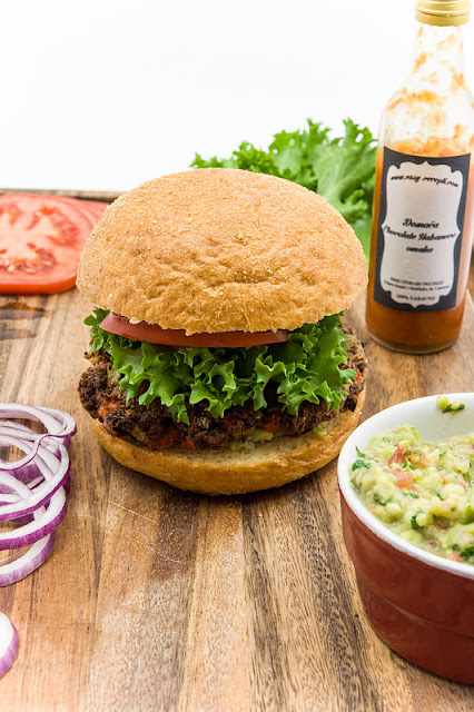 Mexican burger with guacamole and vegan burger blog shot