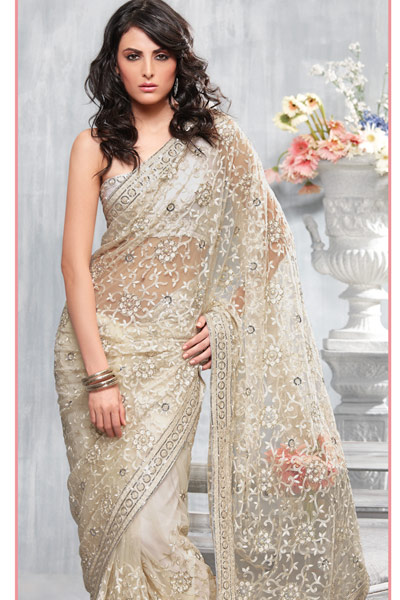 Women fashion trend party wear net sarees for Sari inspired wedding dress