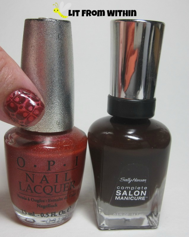 Bottle shot:  OPI Coral Reef, and Sally Hansen Salon Cinnamon