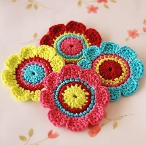 Como hacer flores crochet - Imagui