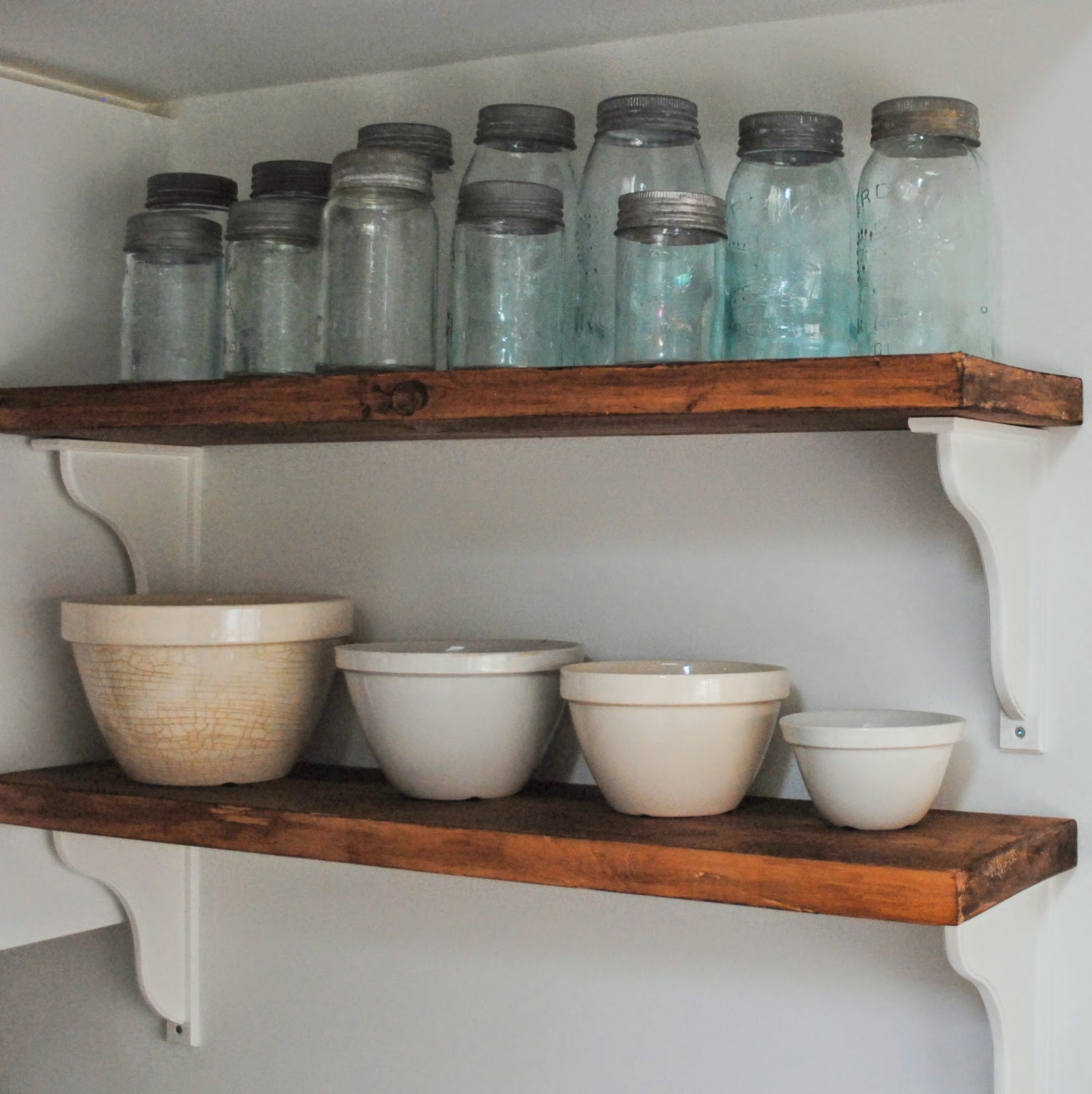 Open Wood and White Kitchen Shelves