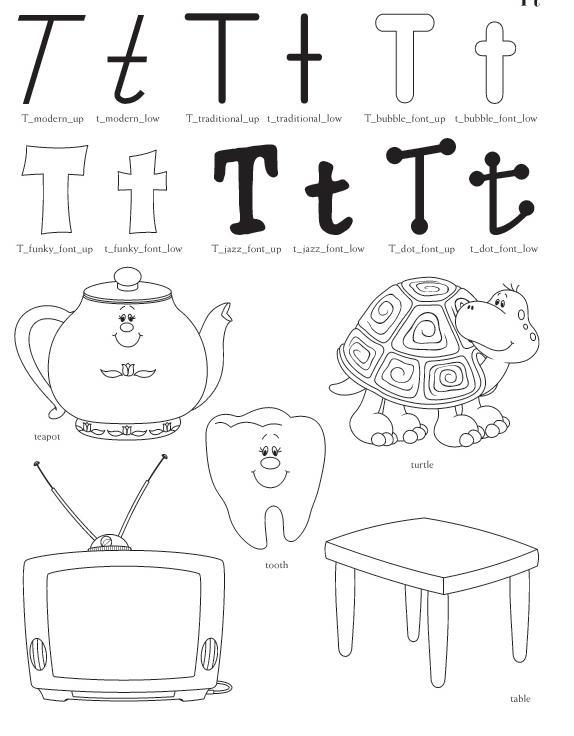 Qu puedo hacer hoy Dibujos letra T para colorear
