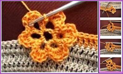 Ponto flor de crochê com passo a passo