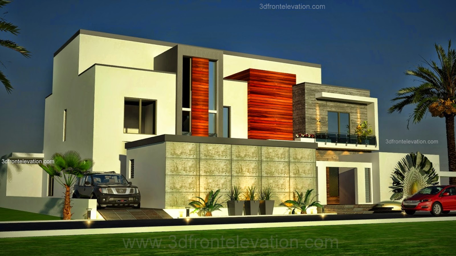 3d front dubai arabian modern contemporary for Images of front view of beautiful modern houses