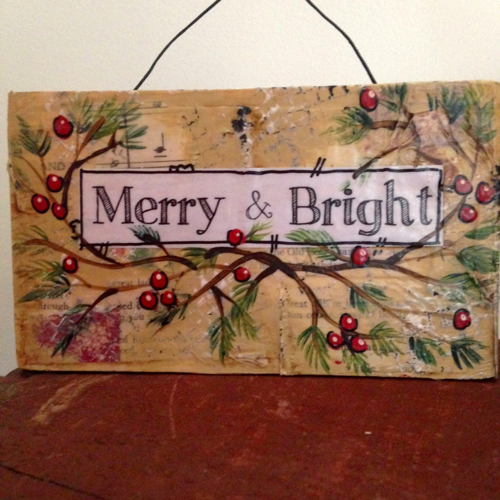 holly berry sign, hand painted christmas sign. holiday decor, christmas decor