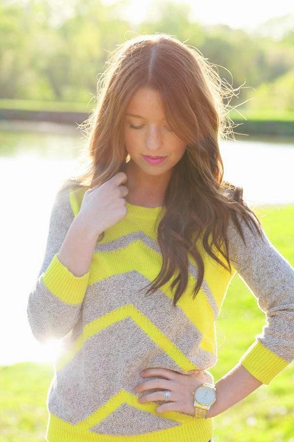 Extreme cute neon chevron sweater fashion trend