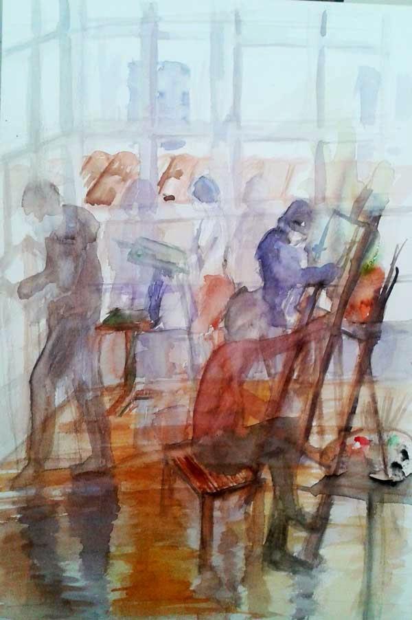 vista del estudio con genta pintando