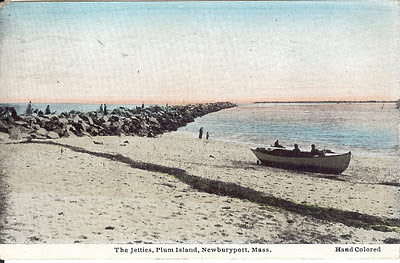 Jetties, Plum Island, Newburyport, Massachusetts, row boat, rescue boat, sand rocks