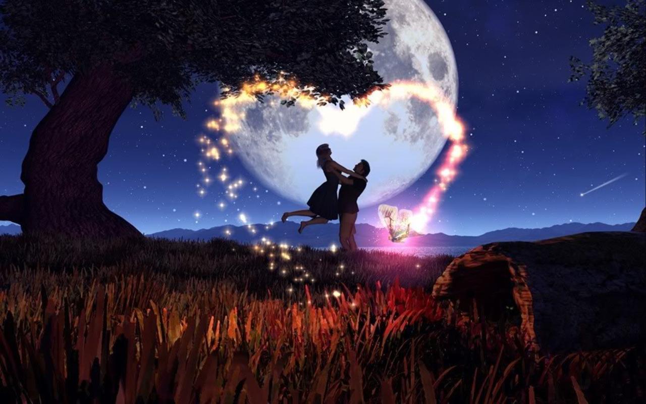 Pareja de Enamorados en la Noche