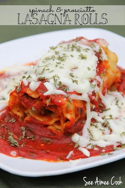 See Aimee Cook: Spinach and Prosciutto Lasagna Rolls