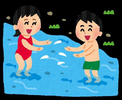 川遊びをしている子供のイラスト