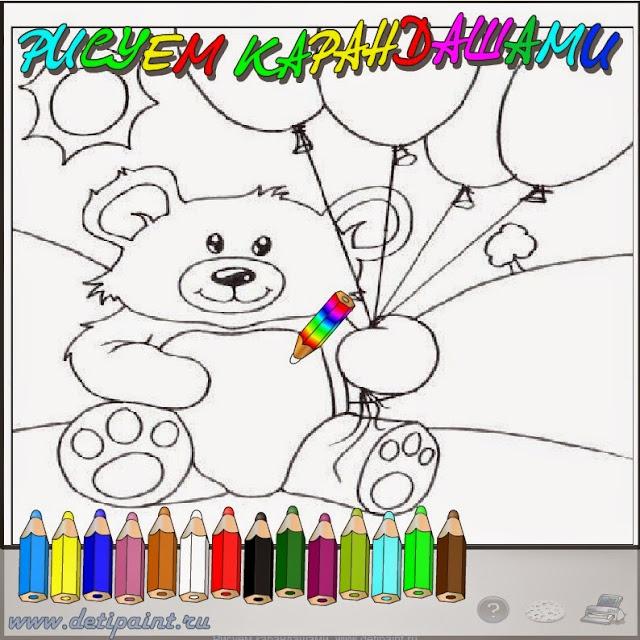 Флэш раскраска медведь