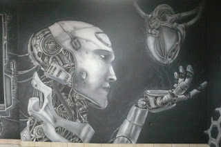 Malowanie obrazu w kawiarni LLU Burger w Łukowie, mural świecący w ciemności,