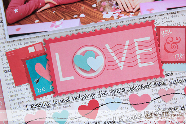 Love Letters Layout for Pebbles Inc by Juliana Michaels