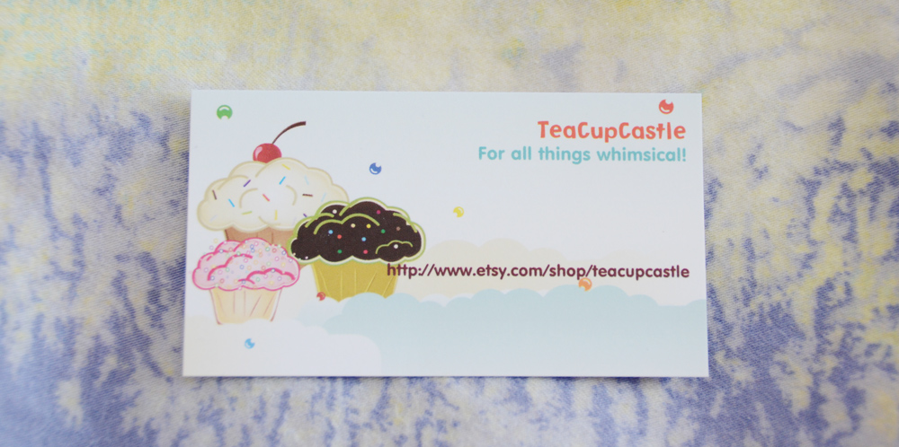 The adorable business card for TeaCupCastle.