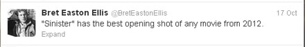 Sinister tweet Bret Easton Ellis