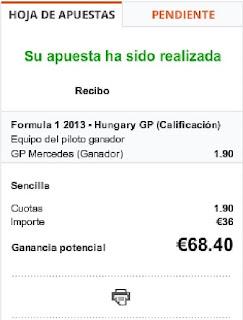 Apuestas Deportivas Rosberg Fórmula 1 – Gran Premio de Hungría/Hungaroring Paf