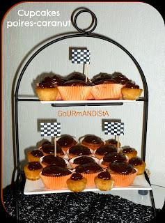 Image Cupcakes poires caranut pour anniversaire moto