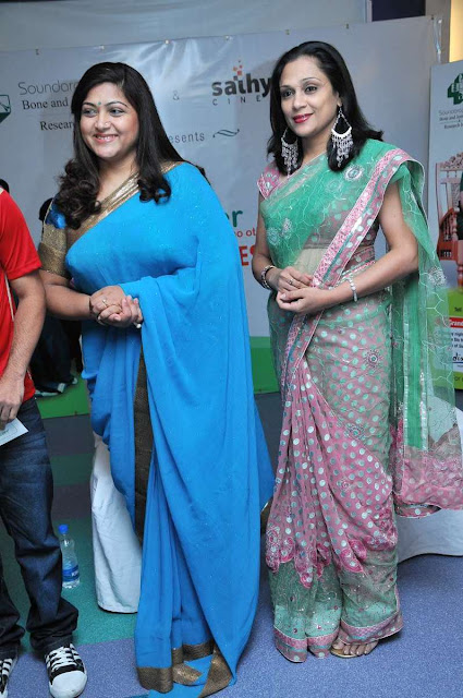 Actress Kushboo Latest Hot Photos In Blue Saree
