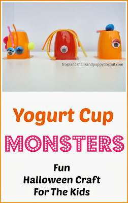 Yogurt Cup Monsters- Fun Halloween Craft For Kids by FSPDT
