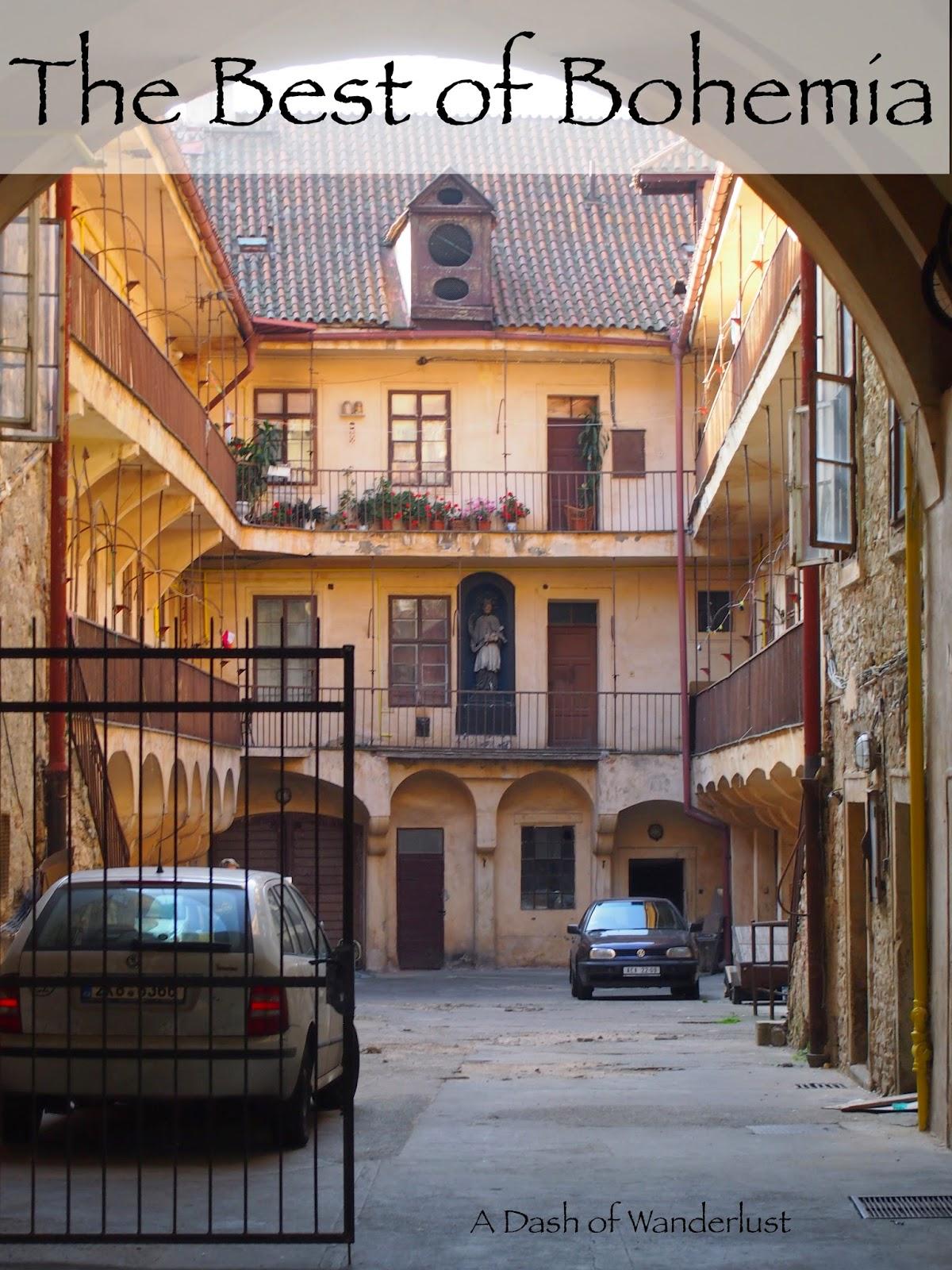 a cute yellow courtyard in Prague
