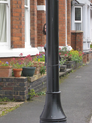 Lola II hiding behind a lamp post, she's that thin!