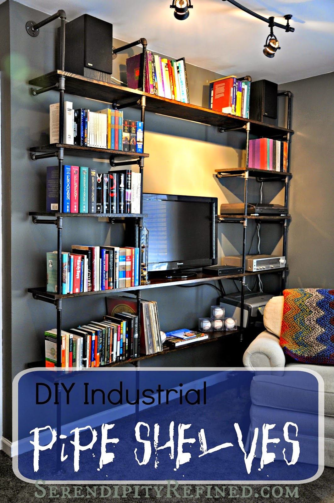 last weekend we finished the last of the projects at my sonu0027s apartment we built industrial pipe shelves for his living room wall