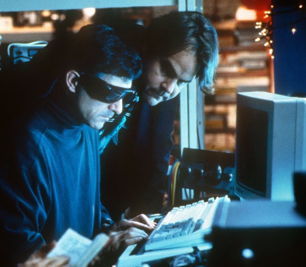 "David Strathairn and Dan Aykroyd coding in the movie ""Sneakers"""